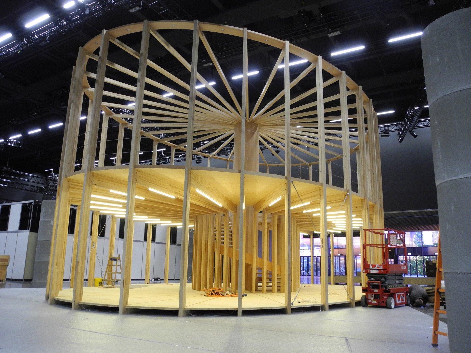 Bau 2-geschossiger Pavillon mit elliptischem Grundriss