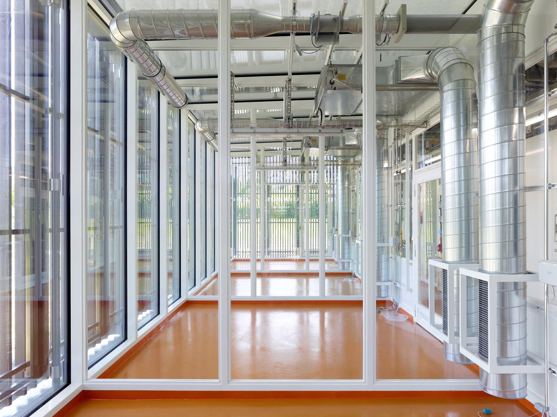 Lichtdurchflutete Laborräume mit orangem Boden