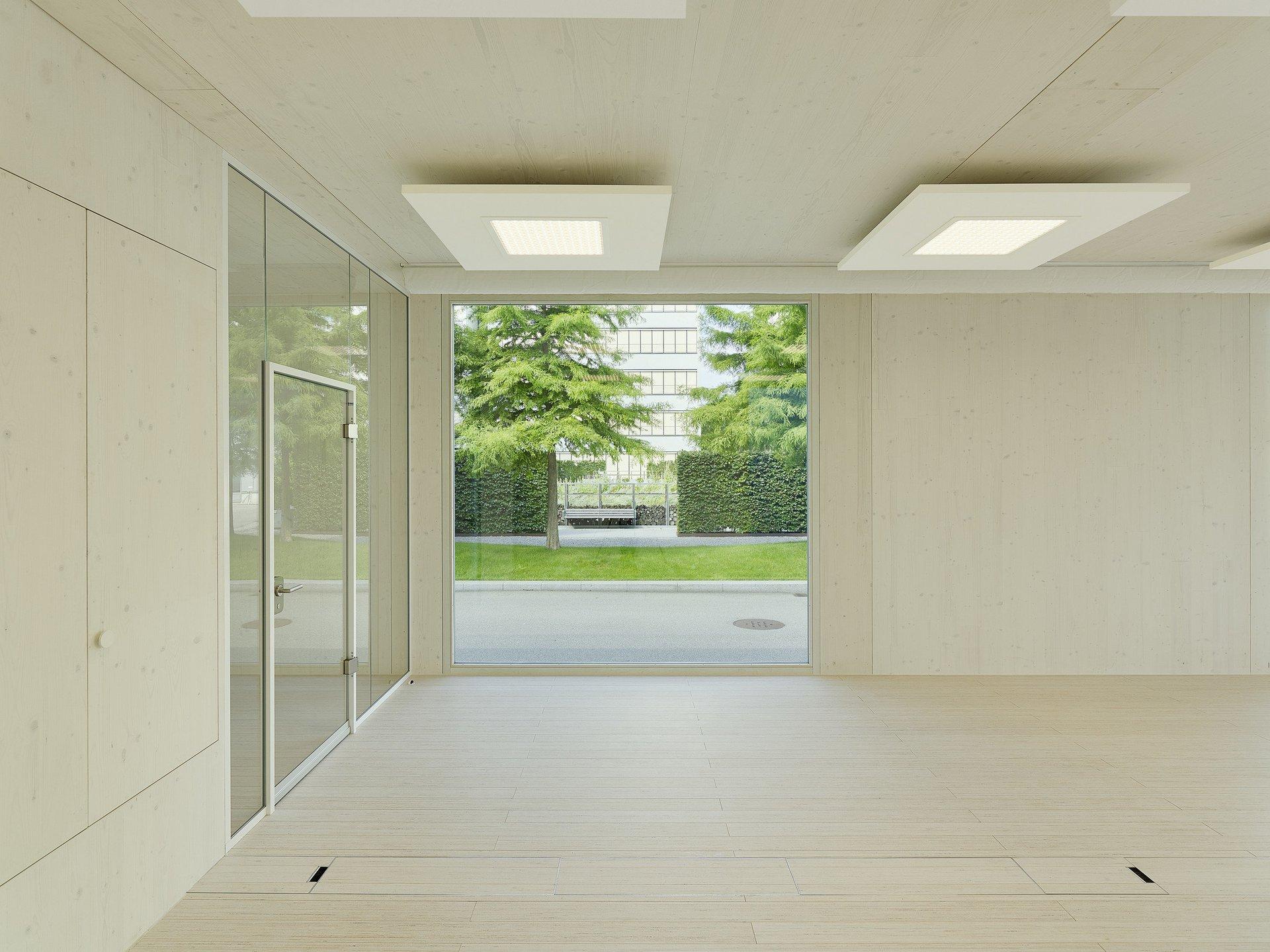 Raum mit Dämmungen aus Holzfaserplatten an der Decke und links Glastüre mit Höhe von 3m