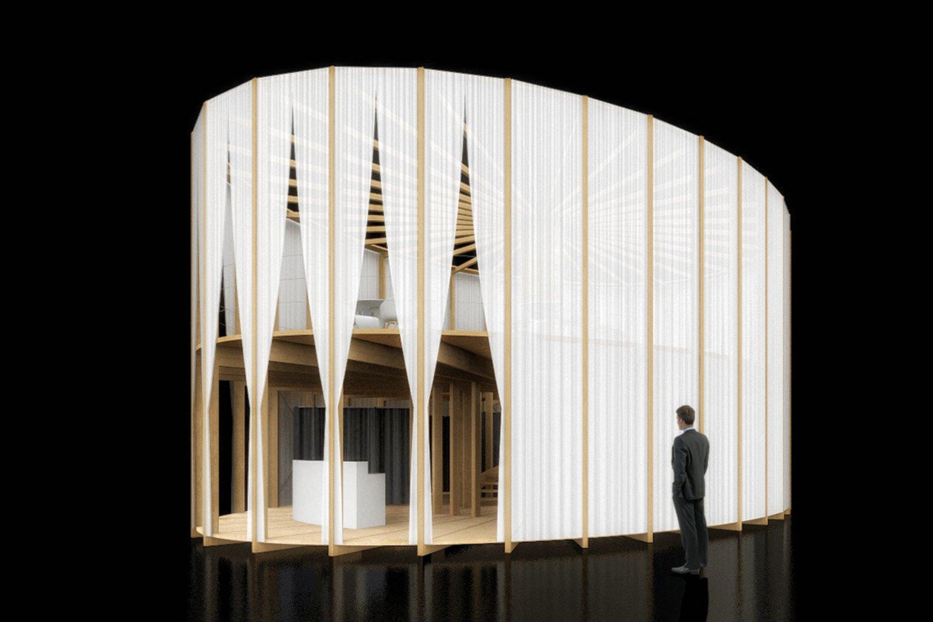 Pavillon 2-geschossig elliptischer Grundriss weissen Vorhängen