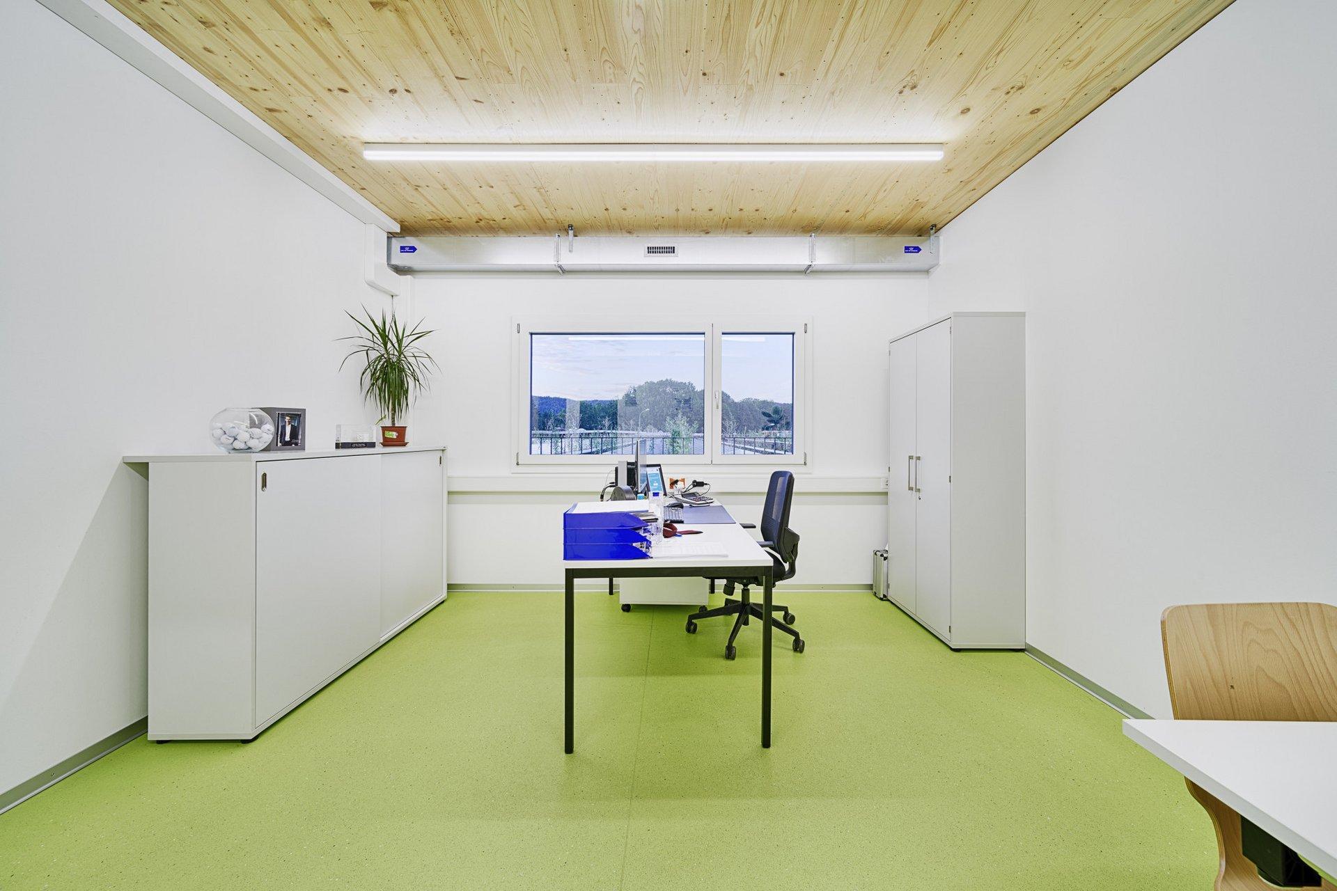 Einblick in ein Einzelbüro mit einer Holzdecke und einem grünen Boden und einem einzigen Fenster mit Bergblick