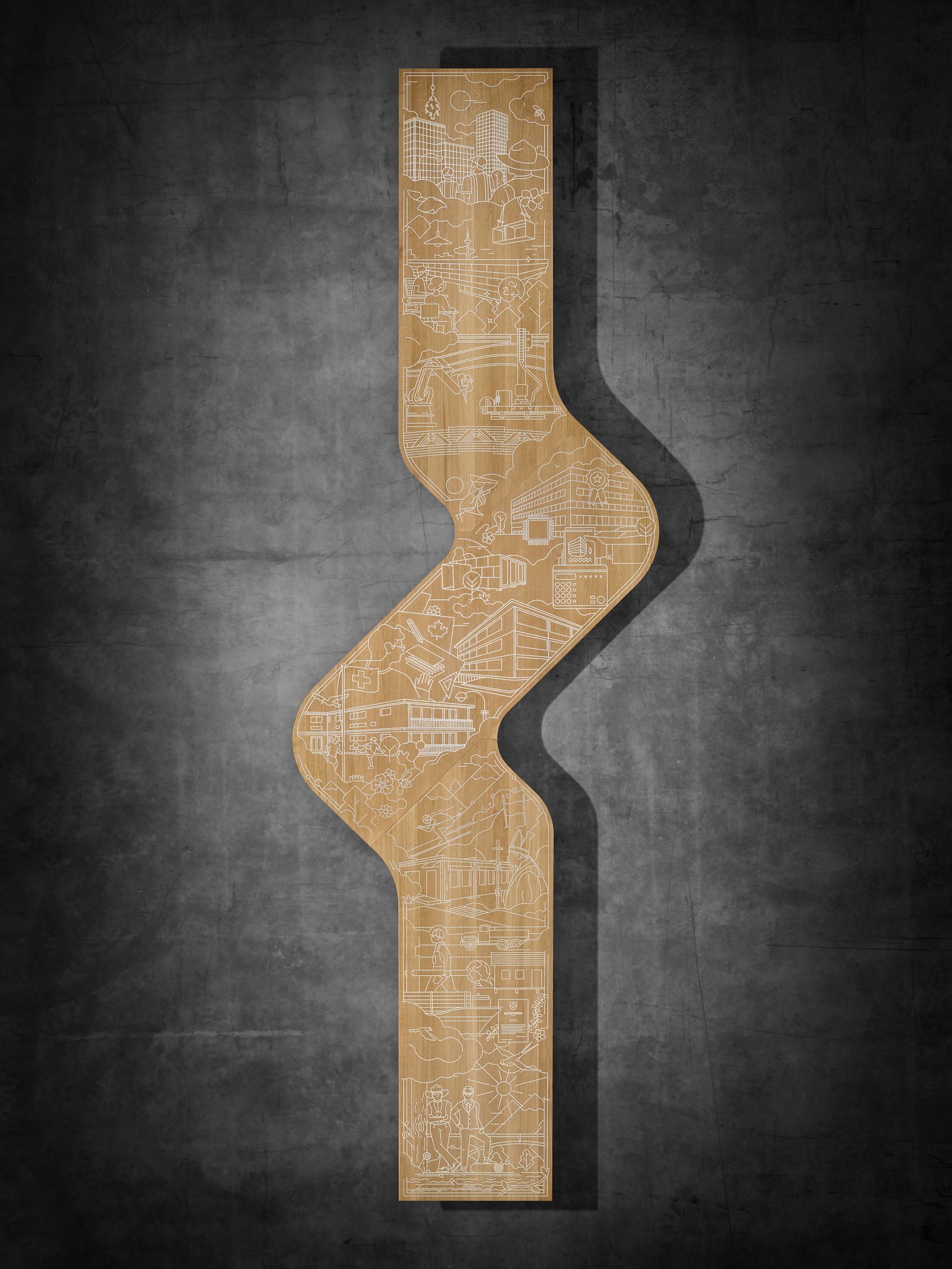 Oberfläche eines langen geschwungenen Holztisches mit eingravierter Firmengeschichte in Zinnguss