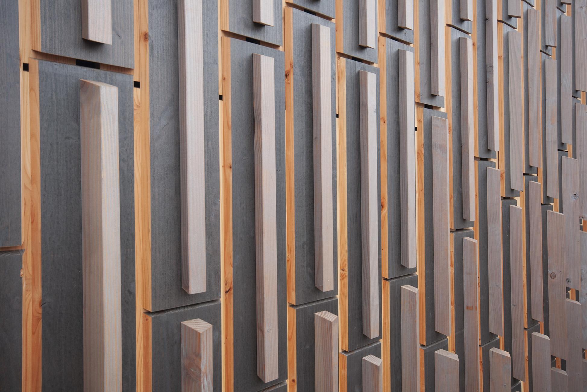 Holzfassade, Rohmben, dunkelgrau