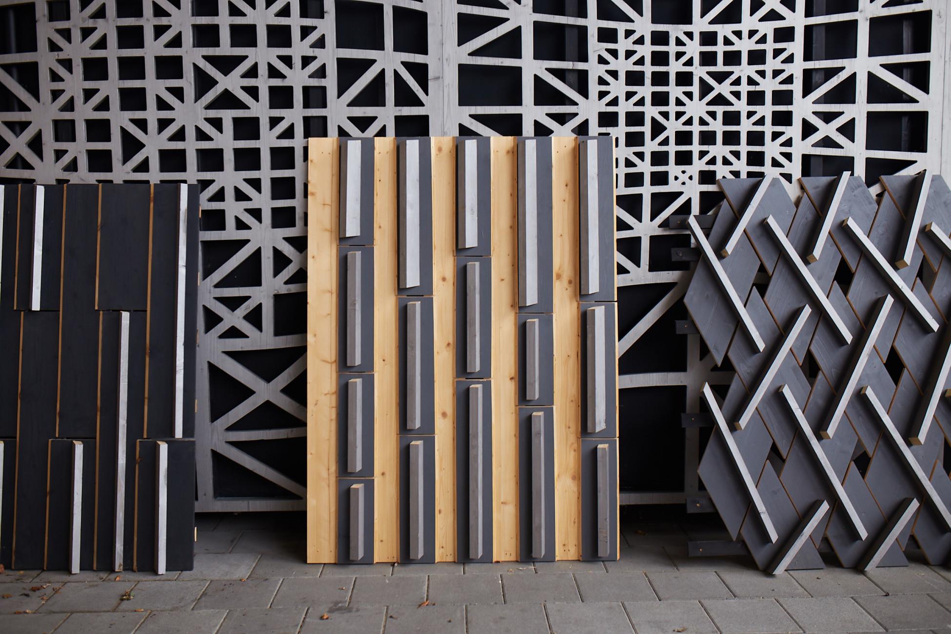 Diverse Mock-up parametrischer Fassaden aneinander gereiht