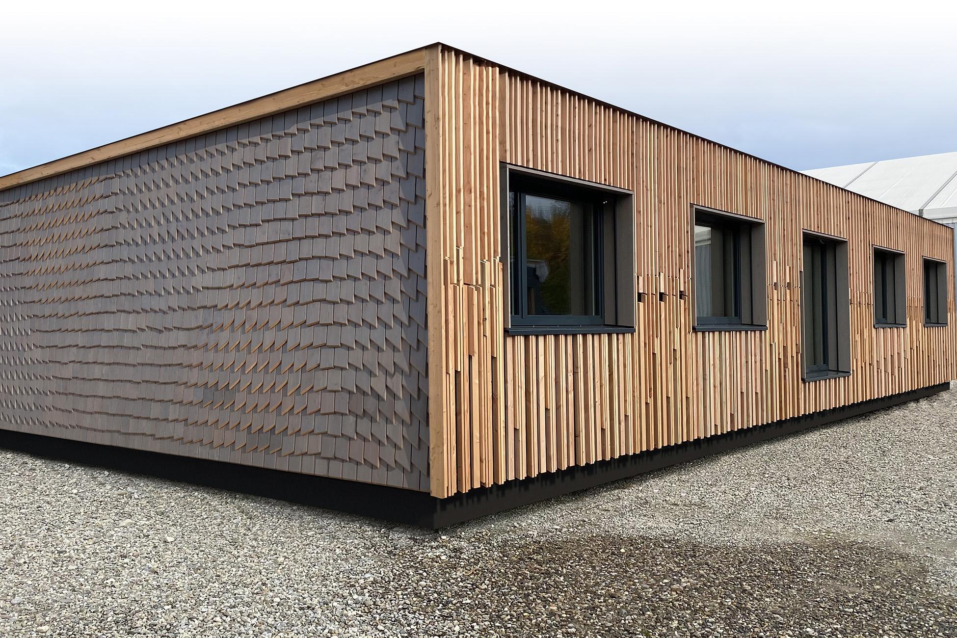 Aufnahme Baubüro Saig mit zwei verschiedenen Fassaden